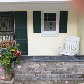 Front porch with stone wall