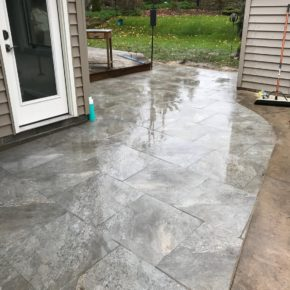 Stone patio in backyard
