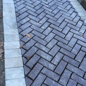 Stone and brick paved path