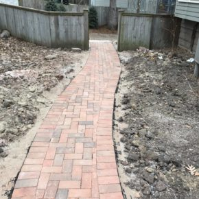 Brick pathway leading through backyard
