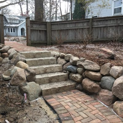 Brick walkway with steps