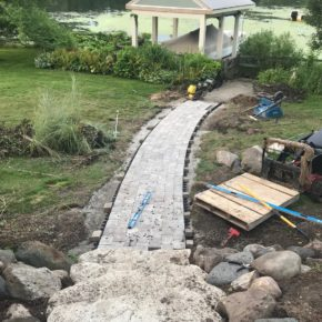 Construction of hardscaped path through backyard