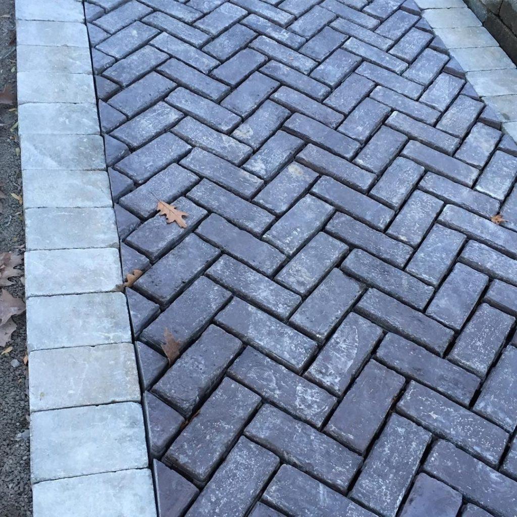 Stone and brick paved path