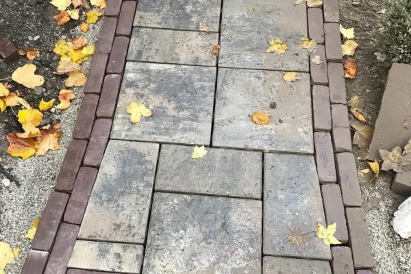 Brick and stone pathway with step